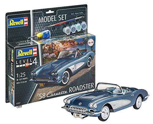 Revell REV-67037 Corvette Roadster 1958 12 Voiture Modellbausatz + Zubehör