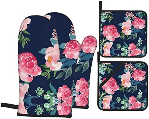 Msacrh Navy Pink Peony Oven Mitts and Pot Holders Sets of 4 Resistant Hot Pads with Polyester product image