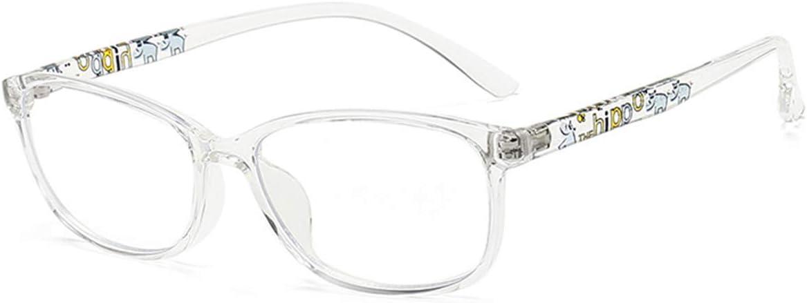 MAXJULI Kids Blue Light Blocking Glasses - Anti Eyestrain - Video Computer Gaming Eyeglasses for Boys & Girls - TR90 Square Flexible Eye Glasses (Translucent)
