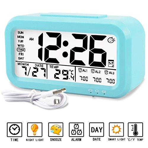 Despertador Reloj Aiduy multifuncional con pantalla grande de LED, muestra en pantalla temperatura, fecha, Luz de noche y carga por USB Para niños, Adultos, Hogar y Oficina (Azul)