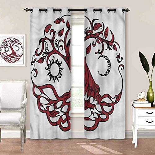 painting-home Blackout Curtains Tree of Life, Sun Half Moon Fantasy Kitchen Cafe Curtains Creates A Nice Atmosphere W72 x L84 Inch