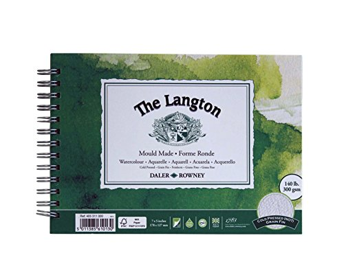 Daler-Rowney Langton Watercolor Pad, 7 X 5 inches, Cold-Pressed, 12 Sheets (405311000)