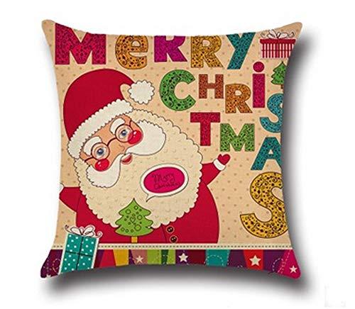 N\A Algodón Lino Lindo Papá Noel Reno Muñeco de Nieve Copo de Nieve Árbol de Navidad Casita Regalo de pájaro Ho Ho Ho Feliz Navidad y Feliz Año Nuevo Diseño Funda de Almohada