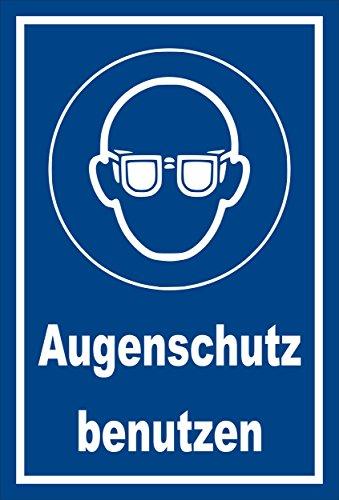 Stickers schild - Bodstekens - oogbescherming gebruiken - komt overeen met DIN ISO 7010/ASR A1.3 – S00361-008-E +++ verkrijgbaar in 20 varianten. 30x20cm - Hartschaumplatte - mit Bohrlöchern