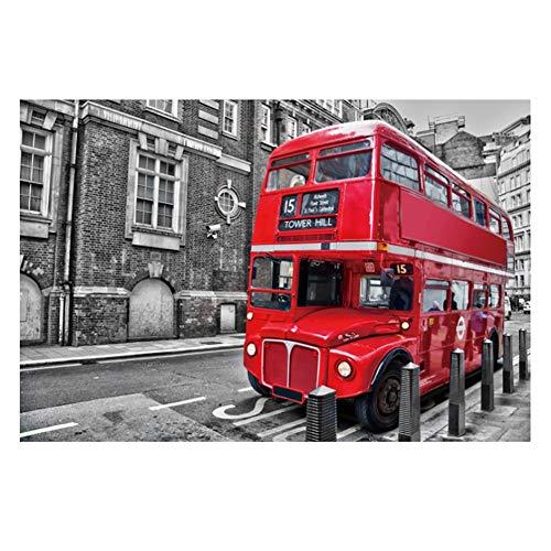 FFYUGO Erwachsene Holzpuzzle, London Bus, Schwarz-Weiß-Malerei, Kunst Bild 520,1000,1500,2000,3000,3700,5000,5700 Stücke, Kinder Lernspielzeug Geschenk,3000