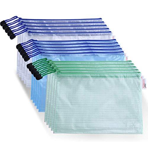 ジッパー式ファイル袋 A4 15枚入り ファイルケース 半透明 ファスナーフォル ジッパー式ファイル袋 撥水 PVC製 ファイル袋 收納袋 オフィス用品 旅行収納