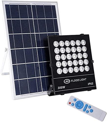 Proyector Solar LED, Impermeable al Aire Libre IP65 Proyector de jardín con Control Remoto, 6000k, luz Blanca fría, Sensor de luz del crepúsculo al Amanecer, para Garaje, cancha Deportiva, t