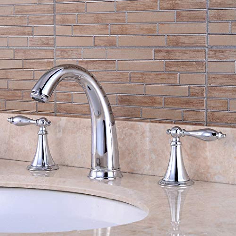 Lddpl Wasserhahn Bad Dusche Wasserhahn verchromt 3pcs BadarmaturenDual-HandgriffWaschbeckendrehbare Mischbatterie
