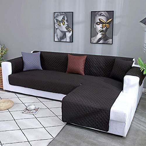 CC.Stars Fundas de sofá y sillones,Funda de sofá de Esquina Impermeable para Sala de Estar Funda de sofá Acolchada en Forma de L Universal Funda Protectora de sofá sólida-Black_L Shape L (240x270cm)
