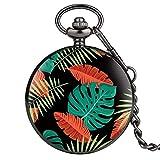 GIPOTIL Reloj de Bolsillo Relojes Personalizados Coloridos de Moda, múltiples Plantas Tropicales, Hojas, Flores, diseño, de Cuarzo, Cadena Relojes de Bolsillo, 1