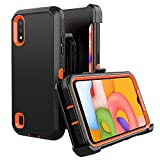 Samsung Galaxy A01 case,Heavy Duty Hard Shockproof Protector Shield Case Cover with Belt Clip Holster for Samsung Galaxy A01 Phone (Black+Orange)