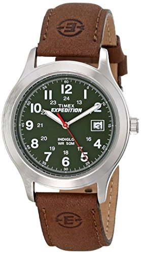 Timex Men's T40051 Expedition Metal Field Brown/Olive Leather Strap Watch
