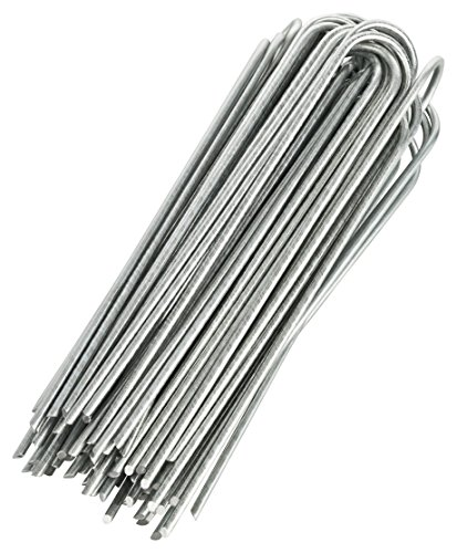 GardenMate Pack of 100 x 200mm multi-purpose steel Garden Securing Pegs - Ideal for hard floors - Made of 3.8mm thick...