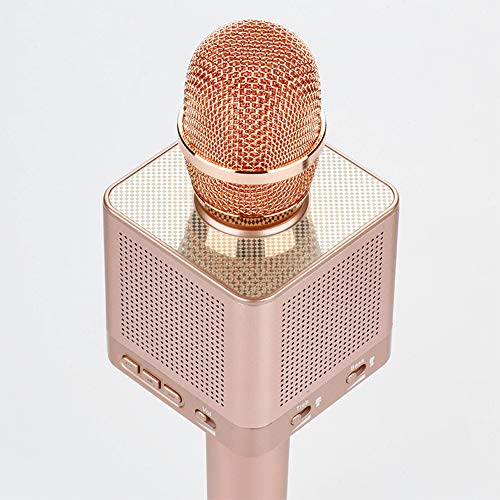 All-in-one Karaoke Microphone Q10S + Bluetooth Speaker Microphone (Rose gold)