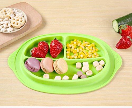 XY-QXZB Piastra in silicone per bambini sottogriglia disegno materiale silicone piatto liscio portatile non tossico per bambini , green