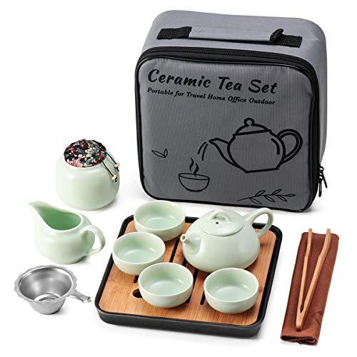 Juego de te de ceramica verde mini kungfu, tetera de viaje con bandeja de infusor 4 tazas, tetera china de porcelana todo en uno, bolsa portatil de regalo para negocios, hotel, picnic