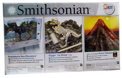 Smithsonian 3 Kit Set Prehistoric Sea Monsters / Diggin' UP Dinos T-rex / Giant Volcano
