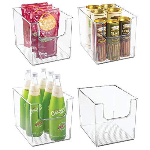 mDesign 4er-Set Aufbewahrungsbox für Lebensmittel – Küchen Ablage mit offener Vorderseite für Kühlschrank, Schrankfach oder Gefriertruhe – Kühlschrankbox aus BPA-freiem Kunststoff – durchsichtig