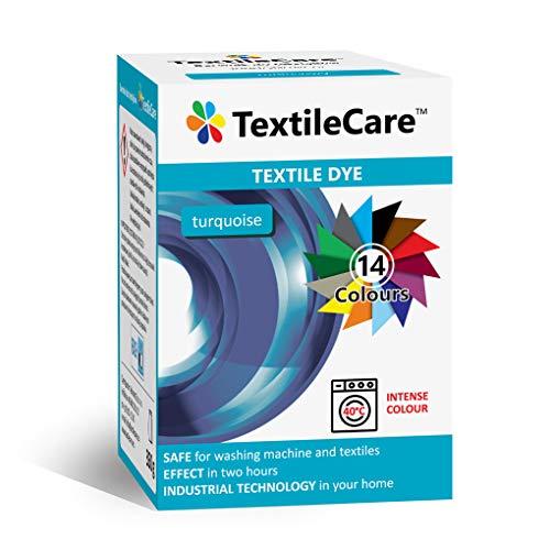 TextileCare Waschmaschinen-Stofffarbe für Kleidung und Textilien, 350 g Farbstoff für 600 g Kleidung, 14 Farben (Türkis)