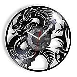 XYVXJ Flying Evil Dragon Reloj de Pared con Registro de música de Vinilo Símbolo Espiritual Decoración de Dormitorio Arte de fantasía Medieval Disco de Vinilo Reloj de Manualidades