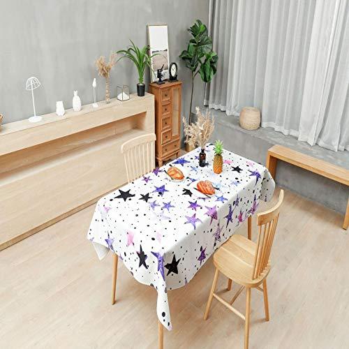 LIUJIU Runde Tischdecke Wasserdicht Tischtuch mit Lotuseffekt Modernes Schlichtes Muster, 140 x 200 cm