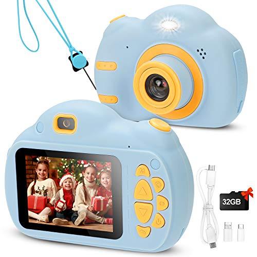 Kinderkamera - 18MP 2.4 Zoll Digitalkamera für Jungen Mädchen ab 3-12 Jahre Geburtstag Spielzeug Geschenke Videorecorder mit 32G SD Karte/Selfie/Filter/Frame (Blau)