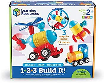 Learning Resources 17-Piece 1-2-3 Build It! Rocket-Train-Helicopter