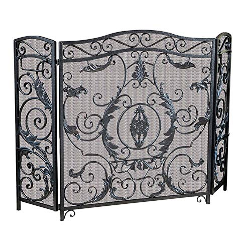 Lowest Prices! Black Foldable Fireplace Screen 3-Panel, Large Retro Fire Spark Guard Gate Metal Mesh...