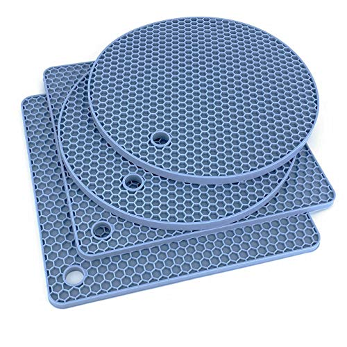Extra Thick Silicone Trivet Mat Heat Resistant Multi-Purpose None Slip Table Place Mats for Hot Pots Holder, Pads, Pans, Dishes, Spoon Rest, Coasters for Kitchen Cooking & Dining(4pcs Pack) (Blue)