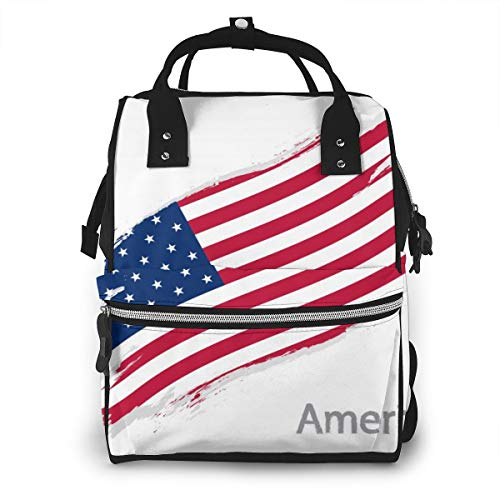 Mochila de viaje multifunción con diseño de bandera de América