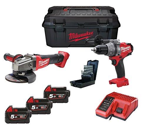 Milwaukee M18 combustible Set: M18CPD batería-martillo + M18CAG-125X batería-amoladora con 3 x 18 V 5, 0Ah Red-Li-ion de la batería y el cargador en caja de herramientas **Incluido 19 tlg HSS-G de Brocas en espiral de conjunto**