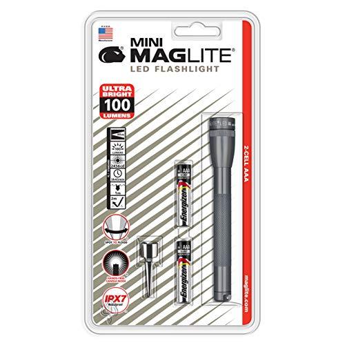 Mini Maglite - Linterna LED (funciona con 2 pilas AAA, en caja), color gris