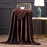 Bertte Throw Blanket Super Soft Cozy Warm Blanket 330 GSM Lightweight Luxury Fleece Blanket for Bed Couch- 50'x 60', Brown