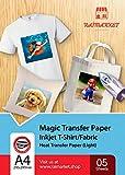 Hierro sobre papel de transferencia para tela claras, blancas y transparente (Magic Paper) de Raimarket | 5 hojas | Transferencia de hierro A4 para inyección de tinta en papel / camisetas