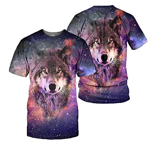 LIUBAOBEI 3D Camisetas para Hombre,Camiseta con Estampado De Lobo Animal para Hombre, Moda De Verano, De Manga Corta, Cuello Redondo En 3D, Tops De Manga Corta para Hombre, Ropa De Calle Hip Hop-M