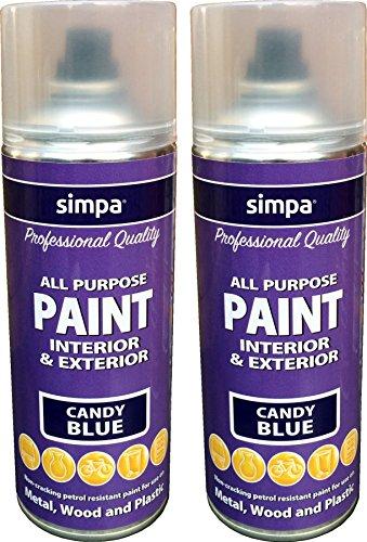 simpa® Sprühfarbe, 400 ml, Candy Blue, Metall, Holz, Kunststoff, Allzweck, für Innen- und Außenbereich, langlebig, risssicher, 2 Stück