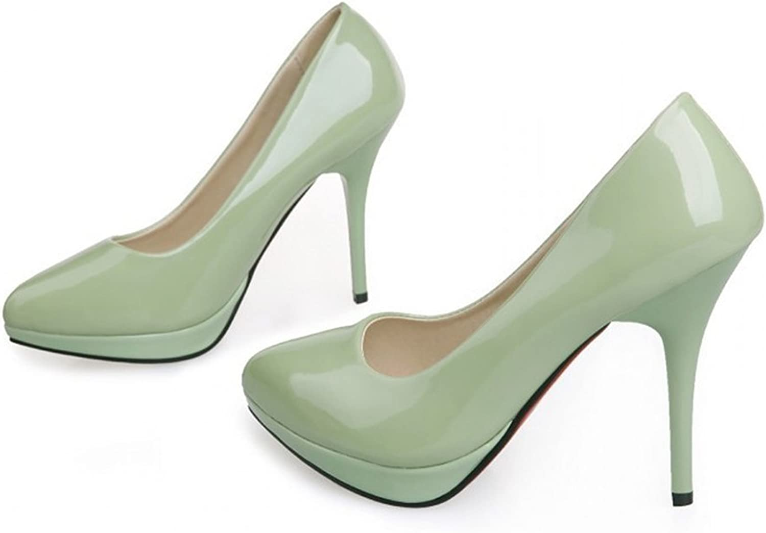Patent Leather Low-cut Women Thin Shors Round High Heel Plus Size camel 39