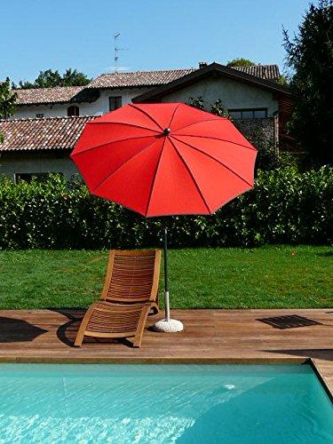 Maffei Art 42B Border, Parasol Rond diamètre cm 200, Tissu dralon, Made in Italy. EXCLUSIVITE Couleur Rouge