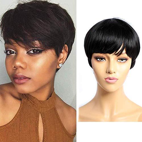 BLISSHAIR Court Pixie Cut Wigs Perruques De Cheveux Humains Meche Avec Une Partie Gratuite Côté Frange Pour Les Femmes Noires