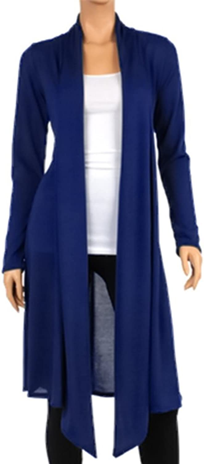 LEANI Women's Long Open Front Drape Lightweight Maxi Long Sleeve Cardigan Sweater Longline Duster Coat