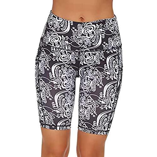 Pudyor Shorts Deportivos de Estampado de Modas Pantalones Cortos de Levante los Cadera Leggings de Cintura Alta para Mujer Pantalón de Yoga Elásticos y Transpirables Mallas para Yoga y Pilates