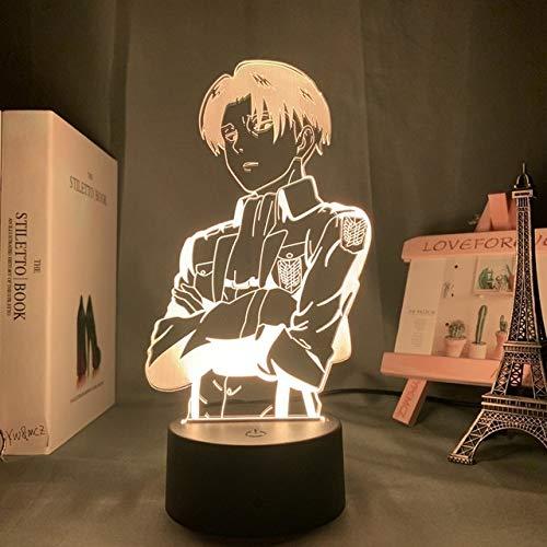 Lámpara de mesa de acrílico Anime Attack On Titan para la decoración de la habitación del hogar Light Cool Kid Child Gift Captain Levi Ackerman Figure Night Light, DM19.16 Color con control remoto