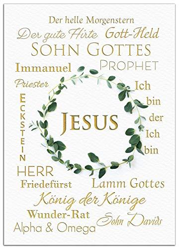 """JESUS Poster Bild """"Die Namen Jesus"""" christliche Geschenk-Idee Bibel - Kunstdruck mit goldener Schrift ohne Rahmen DIN A4"""