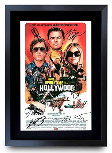 HWC Trading A3 Vie Érase Una Vez En Hollywood Actor Regalos Leonardo Dicaprio Brad Pitt Poster Autógrafos Imagen Impresa por Los Recuerdos De La Película De Los Amantes Signed - Enmarcada A3