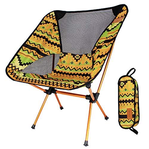TRIWONDER Faltbare Campingstuhl, Ultraleicht und kompakt, Angelstuhl Klappstuhl mit Tragetasche für Wandern, Camping, Strand, Angeln (Indisches Gelb)