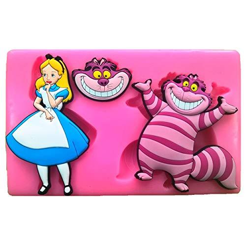 Fairie Blessings - Molde de silicona para decoración de pasteles o cupcakes, diseño de gato de Alicia en el país de las maravillas y el Cheshire