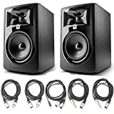 JBL 305P MkII 5' Studio Monitoring Speakers (Pair) w/ 5 Essential AxcessAbles Studio Cables for...