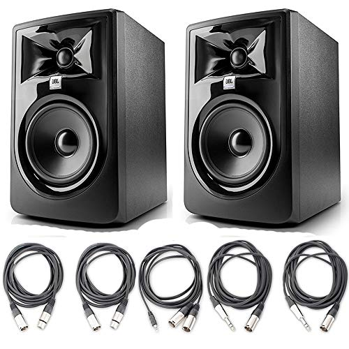 "JBL 305P MkII 5"" Studio Monitoring Speakers (Pair) w/ 5 Essential AxcessAbles Studio Cables for Recording Studio"