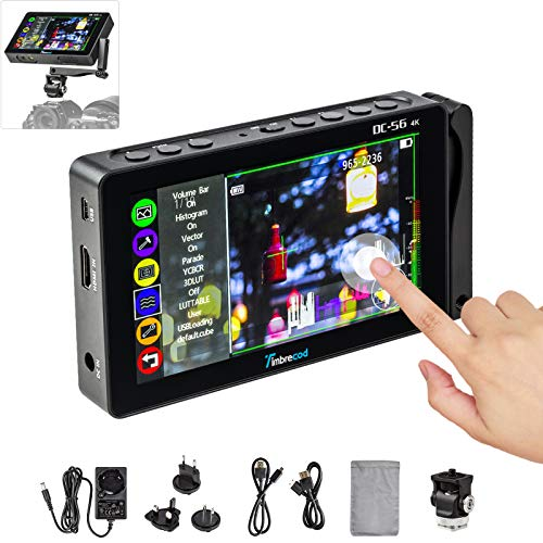"5.5"" Touch Screen Camera Field Monitor, 3D Lut Ultra HD Built-in 3500mAh Rechargeable Battery 1920 x 1080 IPS Screen Support 4K HDMI/AV DC Input Histogram Video Monitor for Camera/DSLR Camcorder"