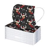 50/100 piezas Mas_carilla desechable para adultos, Navideña Protección suave de tela no tejida de seguridad de 3 capas con ganchos elásticos